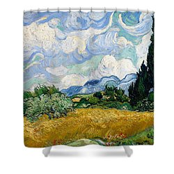 Shower Curtain featuring the painting Wheatfield With Cypresses by Van Gogh