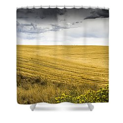 Wheat Fields With Storm Shower Curtain by John Trax