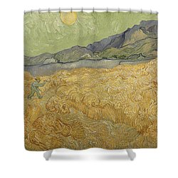 Wheatfield With Reaper Shower Curtain by Vincent Van Gogh