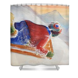 Wheee Shower Curtain by Marilyn Jacobson