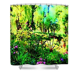 Shower Curtain featuring the painting Wheel Garden by Angela Treat Lyon