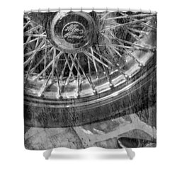 Shower Curtain featuring the photograph Wheel Of An Old Car. by Andrey  Godyaykin