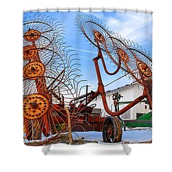 Wheel Rake Upside Down 2 Shower Curtain