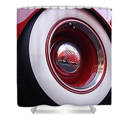 Wheel Reflection Shower Curtain by Carol Milisen