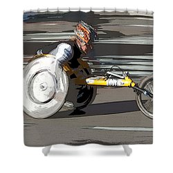 Wheelchair Racer Shower Curtain by Clarence Holmes
