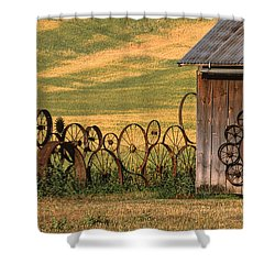 Wheels Of The Palouse Shower Curtain by Sandra Bronstein