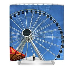 Wheels On Fire Shower Curtain by Trish Hale