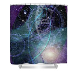 Wheels Within Wheels Shower Curtain by Kenneth Armand Johnson