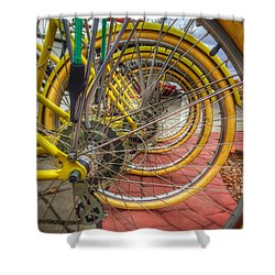Wheels Within Wheels Shower Curtain by Mark David Gerson