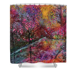 When Cherry Blossoms Fall Shower Curtain by Donna Blackhall