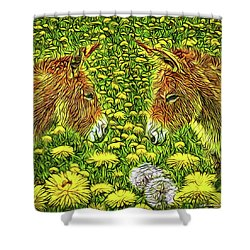 When Donkeys Speak Shower Curtain by Joel Bruce Wallach