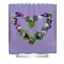 Shower Curtain featuring the mixed media When Love Is New by Nancy Lee Moran