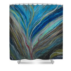 Shower Curtain featuring the pastel When The Feelings Are Gone by Ania M Milo