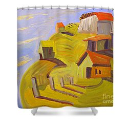 Shower Curtain featuring the painting When The Sky And Sea Meet Beyond Lockmora by Charlie Spear
