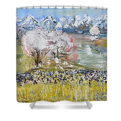 Shower Curtain featuring the painting When The Spring Come by Evelina Popilian