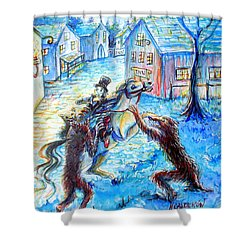Shower Curtain featuring the painting When Werewolves Attack by Heather Calderon