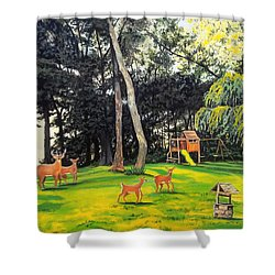 Shower Curtain featuring the painting When World's Collide by Kevin F Heuman