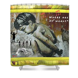 Where Are My Words? Shower Curtain