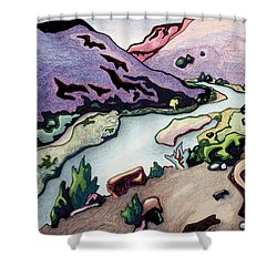 Where I Cross The Rio Grande Shower Curtain by Dale Beckman