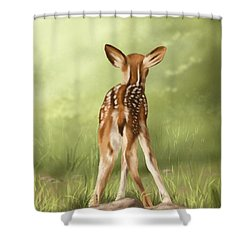 Shower Curtain featuring the painting Where Is My Mom? by Veronica Minozzi