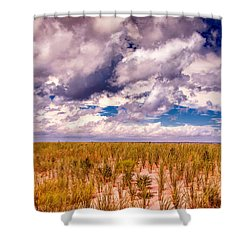 Shower Curtain featuring the photograph Where Land Meets Sky by Gary Slawsky