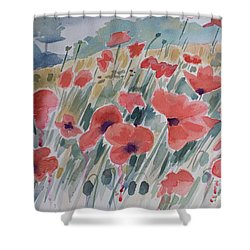 Where Poppies Grow Shower Curtain by Barbara McMahon