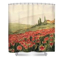 Where Poppies Grow Shower Curtain
