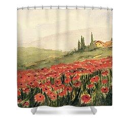 Where Poppies Grow Shower Curtain