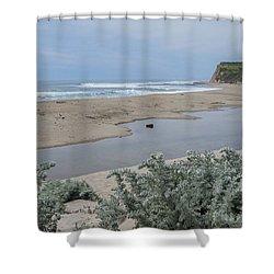 Where Scott Creek Meets The Ocean Shower Curtain by Mark Barclay