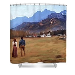 Where The Heart Is - Landscape Art Shower Curtain