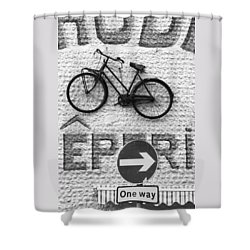 Which Way Shower Curtain by Hazy Apple