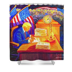 While America Sleeps - President Donald Trump Working At His Desk By Bertram Poole Shower Curtain by Thomas Bertram POOLE