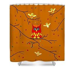 Whimsical Autumn Colors - Birds Owls Shower Curtain