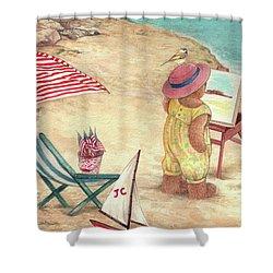 Whimsical Bear On The Beach Shower Curtain