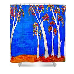 Whimsical Birch Trees Shower Curtain