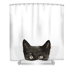 Whimsical Cat Poster, Funny Animal Black Cat Drawing, Peeking Cat Art Print, Animals Painting Shower Curtain