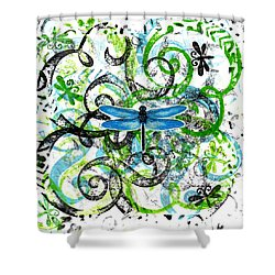 Whimsical Dragonflies Shower Curtain by Genevieve Esson
