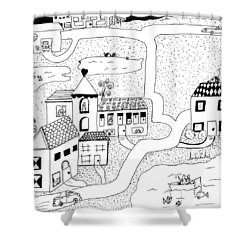 Shower Curtain featuring the painting Whimsy Town by Lou Belcher