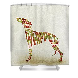 Shower Curtain featuring the painting Whippet Watercolor Painting / Typographic Art by Inspirowl Design