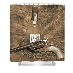 Whiskey And A Gun Shower Curtain