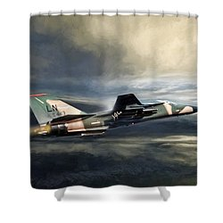 Whispering Death F-111 Shower Curtain by Peter Chilelli