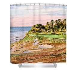 Shower Curtain featuring the painting Whistling Straits Golf Course 17th Hole by Bill Holkham