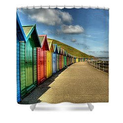 Whitby Beach Huts Shower Curtain