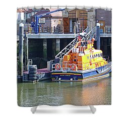 Whitby Lifeboat Shower Curtain by Rod Johnson