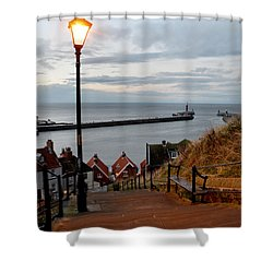 Whitby Steps Blue Hour Shower Curtain