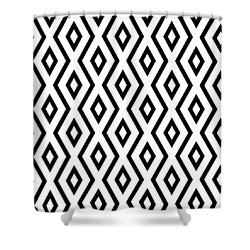 White And Black Pattern Shower Curtain by Christina Rollo