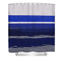White And Blue Boat Symmetry Shower Curtain