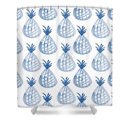 White And Blue Pineapple Party Shower Curtain by Linda Woods