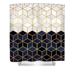 White And Navy Cubes Shower Curtain