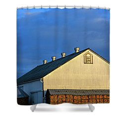 White Barn At Golden Hour Shower Curtain